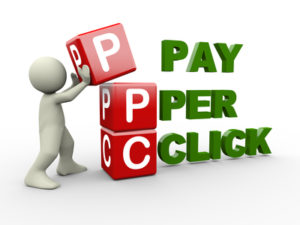 3d person placing ppc pay per click cubes. 3d human people character illustration